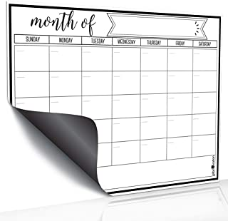 Magnetic Dry Erase Refrigerator Calendar by JR INTL, Large Calendar Whiteboard Monthly Planner - 2 Fine Tip Markers and La...