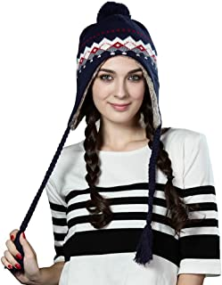 Women Cable Knit Peruvian Beanie Wool Winter Hat Cap with Earflap Pom New