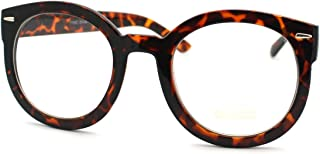Oversized Round Thick Horn Rim Clear Lens Fashion Eye Glasses Frame