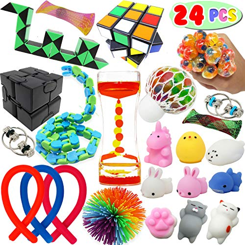24 Sensory Fidget Stress Relief ADHD Autism Anxiety Therapy Kids Toys Infinity Cube; Mochi Squishy