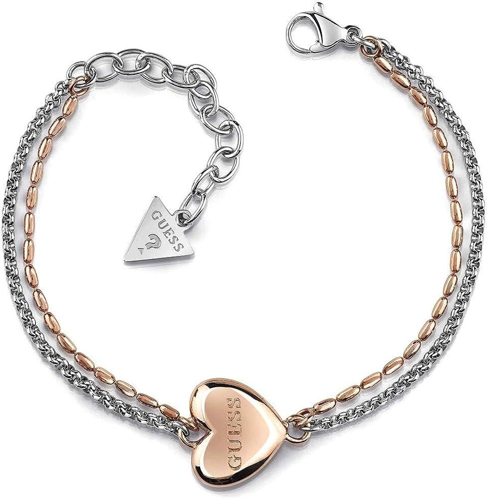 Guess,bracciale per donna,in acciaio bicolore, logo in acciaio placcato oro rosa UBB78103-S