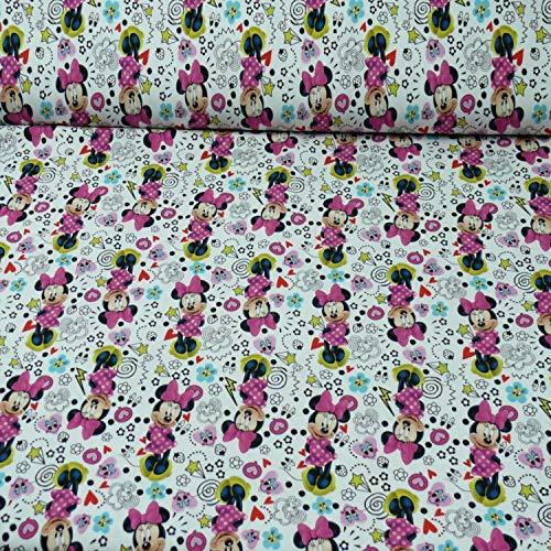 Disney Jersey Minnie Maus, Öko-Tex Standard 100, weiß, (ab 25cm x 160cm)