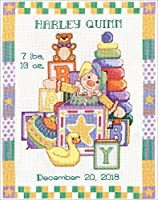 """Tobin Counted Cross Stitch Kit 11""""X14""""-Toys Sampler Birth Record (14 Count)"""