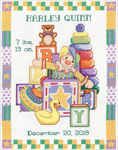 """Toys Sampler Birth Record Counted Cross Stitch Kit-11""""X14"""" 14 Count"""