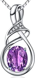 HXZZ Fine Jewelry Gifts for Women Sterling Silver Natural Gemstone Swiss Blue Topaz Amethyst Pendant Necklace