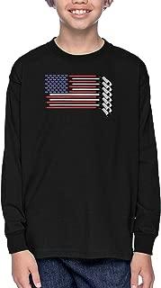 American Flag - Hockey Sticks Pucks Youth T-Shirt