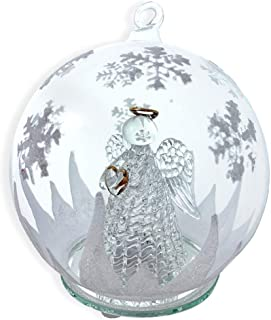 BANBERRY DESIGNS LED Glass Globe Christmas Tree Ornament with Angel Holding Heart Inside - Color Changing Lights - Clear Glass with Hand Painted Glitter Snowflakes 5 Inch Diameter