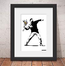 Quadro Decorativo Banksy Love is in the Air Graffiti - Alta Qualidade: Vidro e Paspatur Tam: 56x46cm