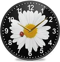 ساعة الحائط ALAZA كاموميل ديزي والخنفساء تعمل بالبطارية الصامتة غير موقوتة لديكور غرفة المعيشة 30.48 سم / 24.5 سم