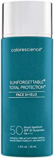 Colorescience Total Protection Face Shield SPF 50, Broad-Spectrum Mineral Zinc Oxide Formula for Sensitive Skin, Oil-Free,...
