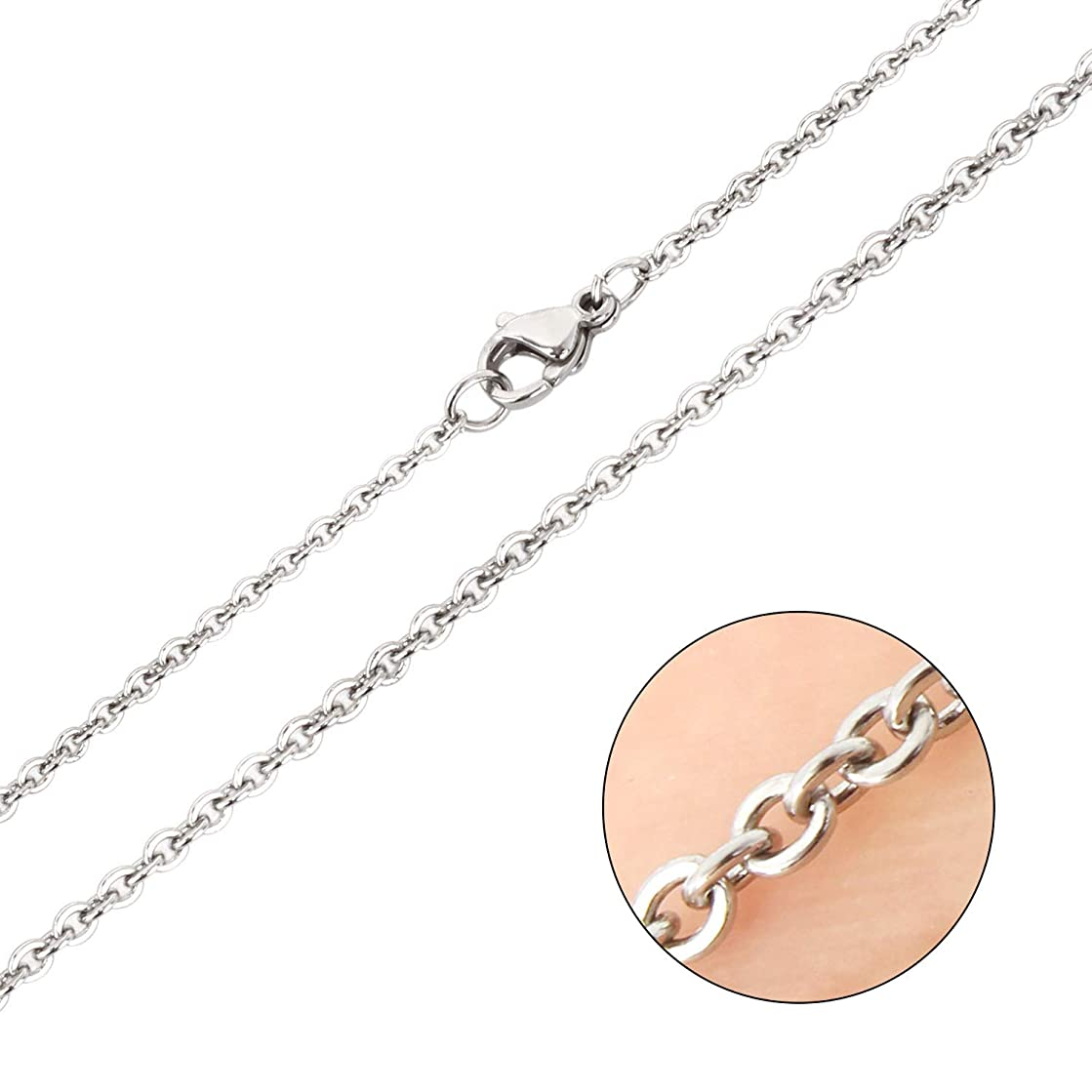 Wholesale 12 PCS Stainless Steel Flat Cable Chain Finished Necklace Chains Bulk for Jewelry Making,(18 Inch(1.5MM))