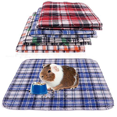 Blaoicni 4 Pack Guinea Pig Bedding Guinea Pig Cage Liners Fast Absorbent Waterproof Anti Slip Washable Pee Pads Reusable 12'x 12'