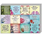 NewEights Spanish Christian Stickers for Women Series 3 (10 Sheet) - Total 120 pcs (10 x 12pcs) Individual Small Size 2.1 x 2 Inches, Unique Designs, Spanish Stickers with Biblical Quote for Women