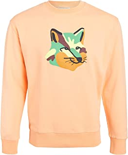Maison Kitsune Men's Crew Neck Sweatshirt with Neon Fox Print
