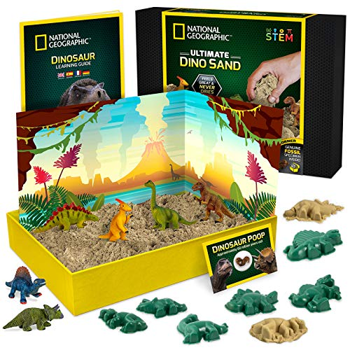 NATIONAL GEOGRAPHIC Dinosaur Play Sand - 2 Pounds of Play Sand, 6 Molds, 6 Dinosaur Figures, A Kinetic Sensory Sand Activity Kit for Boys and Girls
