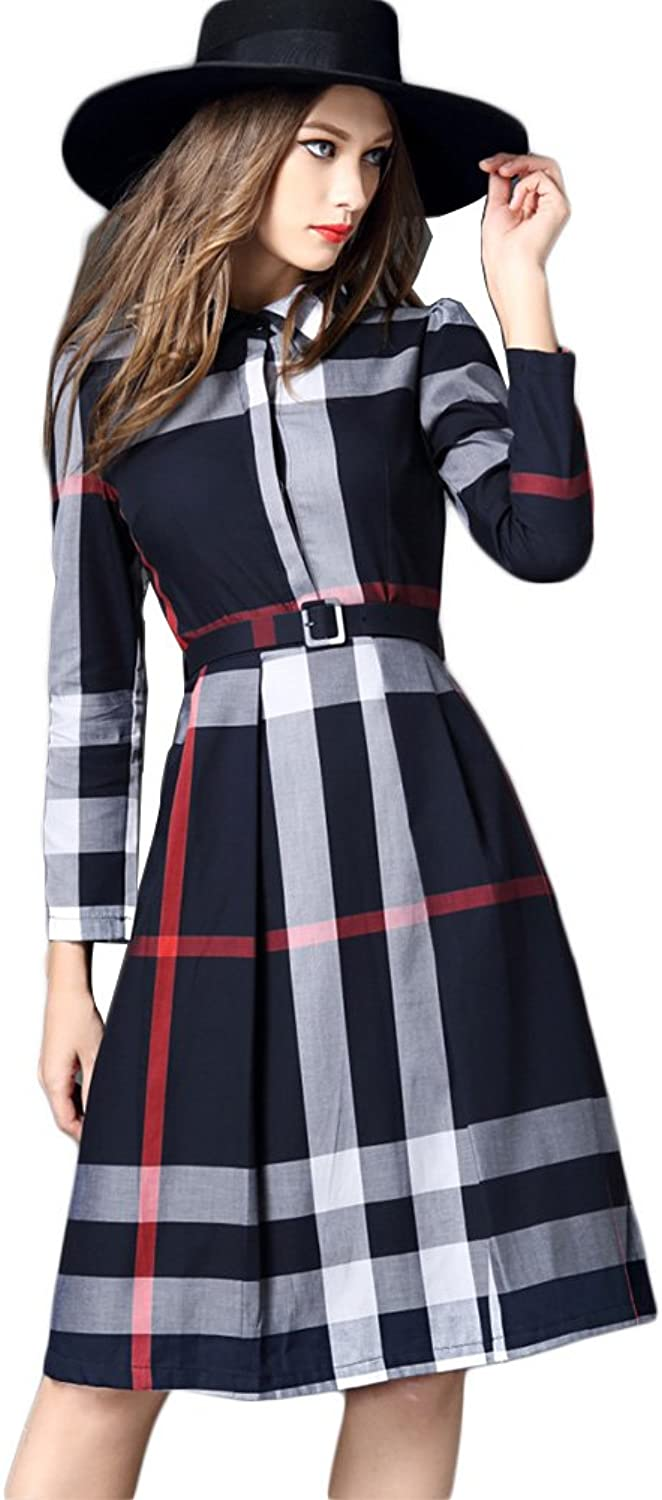 WintCO Women Dresses Patchwork Pattern Large Size Long Sleeve Clothes