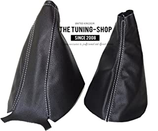 The Tuning-Shop Ltd For Vauxhall Opel Corsa D 2006-2014 Shift E Brake Boot Black Leather White Stitching
