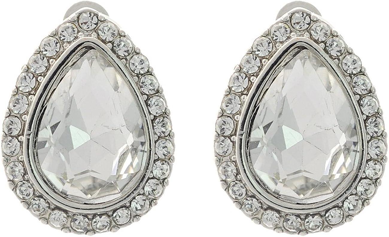 Mini Single Loop Rhinestone Accent Teardrop Stone Fashion Clip On Earrings