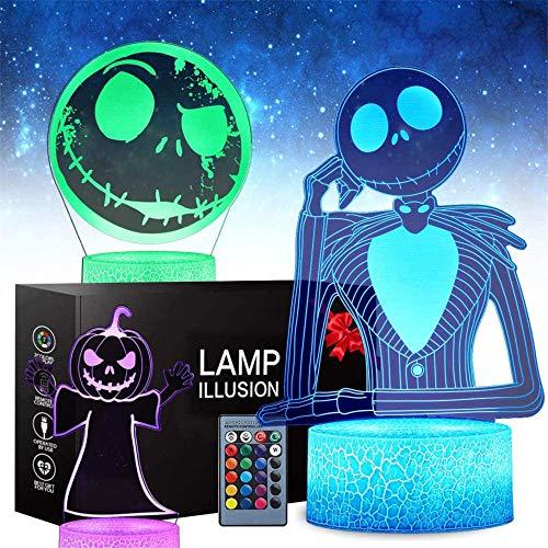 Regalos, Halloween Calabaza Rey Jack Skellington 3D Luz de Noche para Niños 16 Cambio de Color de la Lámpara de Decoración - Juguetes y Regalos para Niños Niñas y Anime Fans