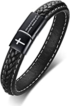 MEALGUET Genuine Braided Leather Cuff Bracelet Christian Bible Verse Religous Inspirational Quote Cross Leather Bracelets with Magnet Clasp for Men