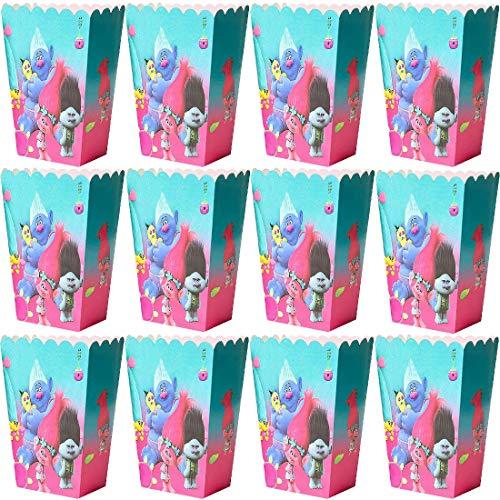 Cajas de Palomitas Bolsas Palomitas Trolls Caja Cartón de Caramelo Contenedor de maíz Unicornio para niños Fiesta de cumpleaños - Pack of 24