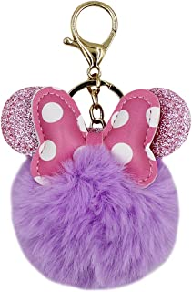 Leather Polka Dot Bowknot Keychain Cute Faux Fur Pom Pom Key Chain Ring Clip Handbag Wallet Backpack
