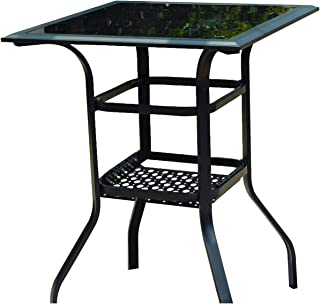 LOKATSE HOME Outdoor Bistro Bar Patio Table 2-Tier Tempered Glass Top with Storage, Black