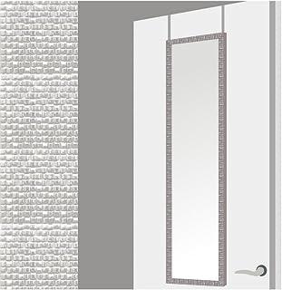 Espejo para Puerta Moderno, Plateado con Diseño de Baldosas