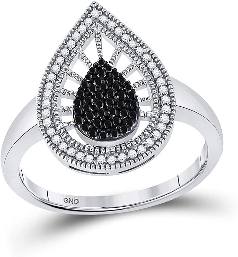 Solid 10k cheap White Gold Round New life Teardrop Engagement Wed Diamond Black