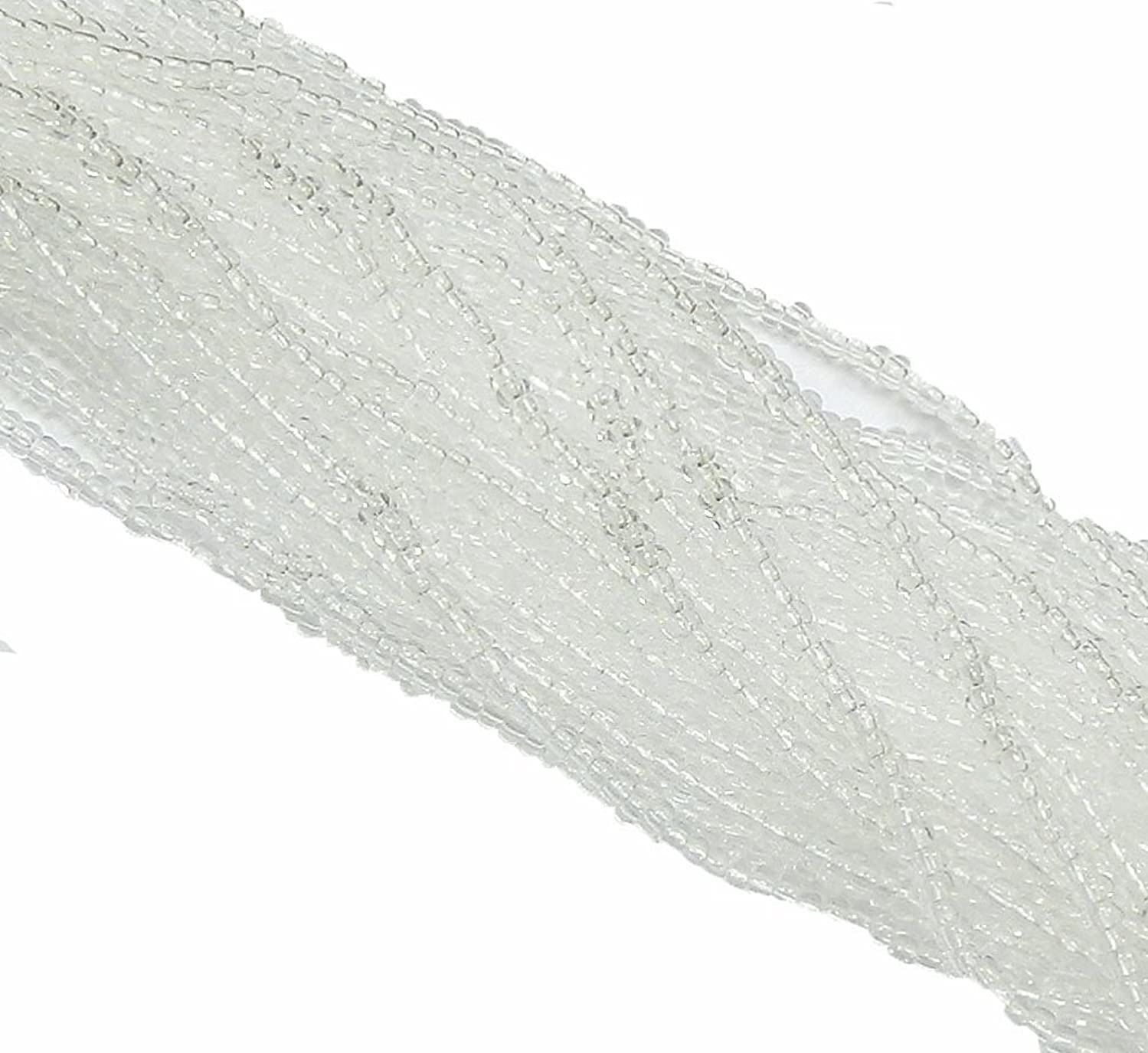 Crystal Clear Czech 6/0 Seed Bead on Loose Strung 6 String Hank Approx 900 Beads