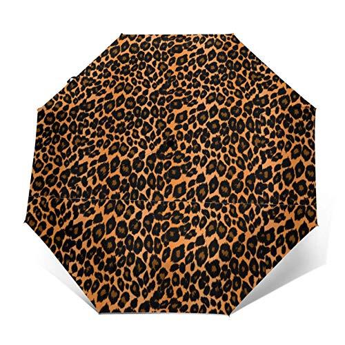 Leopard Cool - Paraguas compacto y automático con tres pliegues
