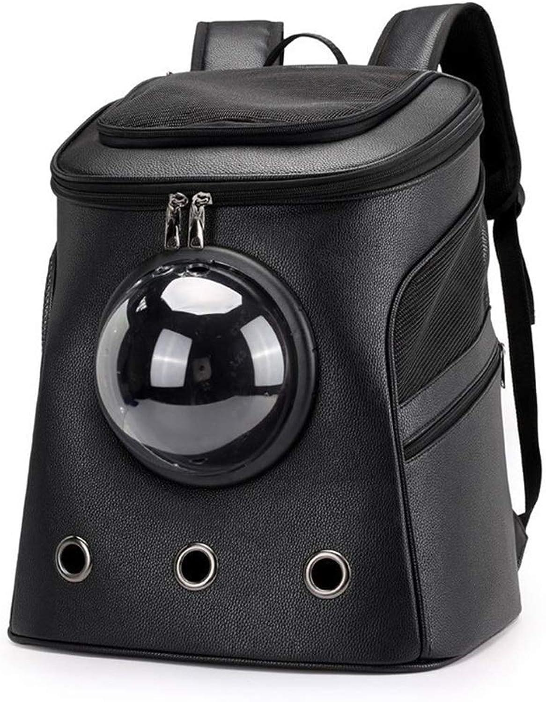 FELICIOO Pet Bag Cat Puppy Backpack Breathable And Convenient Space Bag (color   Black)