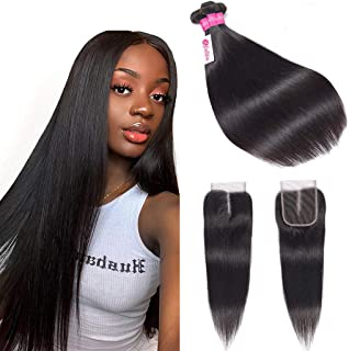 10A Grade Brazilian Straight Hair Bundles with Closure Unprocessed Virgin Straight Human Hair 3 Bundles with Middle Part Lace Closure B-Fashion Remy Human Hair Weave Extensions (12 14 16 and 10)