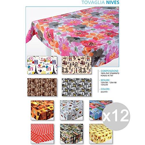 Set van 12 tafelkleden Nives 120X180 rubberen accessoires voor keuken en La Tavola