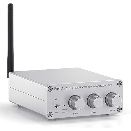 [Nueva actualización] Amplificador Bluetooth 5.0 Receptor de amplificador de audio, Mini Hi-Fi Clase D de 2 canales, amplificador integrado, para altavoces pasivos del hogar (BT20A-S)