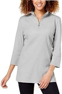 KAREN SCOTT Womens Gray Zippered Collared Sweater AU Size:14