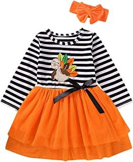 Toddler Baby Girls Christmas Dress Santa Striped Print Tulle Princess Dress+Headband Outfits for 1-5 Years Old
