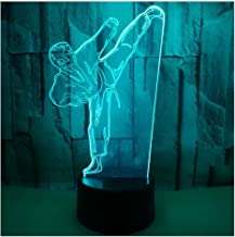 3D Optical Illusion LED Lamps Night Light,Amazing 7 Colors Quick Touch Switch Lamp with Smooth Acrylic Flat,USB Powered Deco Lamp,Birthday Christmas Holiday Gift for Kids and Friends,Taekwondo_a
