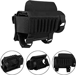 AIRSSON Tactical Buttstock Butt Stock Holder Ammo Pouch Molle 7 or 8 Shells Pouch with Different Heights Cheek Leather Pad .22 .223 Cal .308 30-06 .300 .303 & 7.62mm