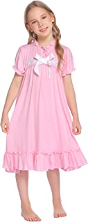 Greatchy Girls Ruffle Dress Summer Short Sleeve Casual Maxi Dress Cotton Party Vintage Princess Swing Tiered Dress