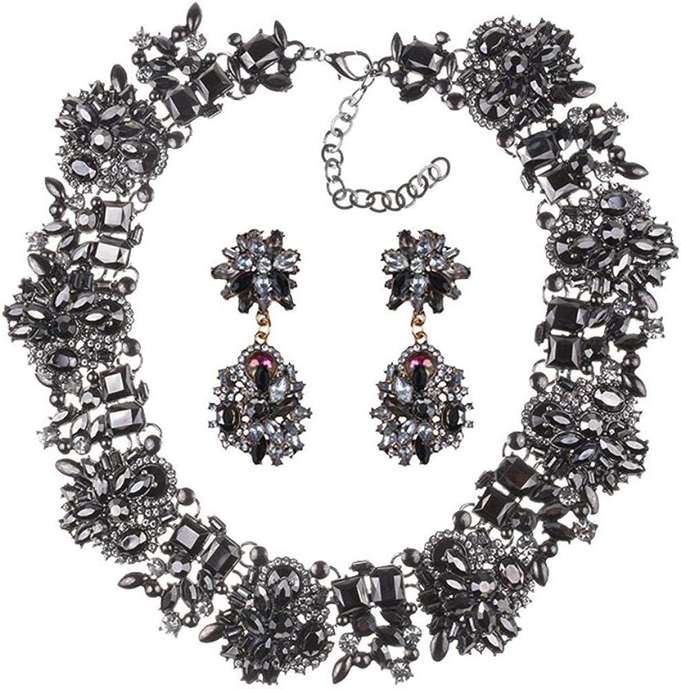 Bling Crystal Statement Bib Necklace Bracelet Earrings for Women Fashion Costume Jewelry Sets (Black Jewelry Set)