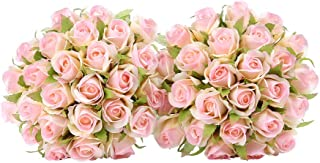 Easin Wedding Flower Artificial Flowers for Room Home Hotel Party Event Decoration Silk Mini Rose Bud 2 Set (Pink)