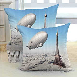 SEMZUXCVO Paris Decor Polyester Pillowcase Zeppelin and Eiffel Tower Over Clouds Sky Dreamy Famous Place on Earth Picture Machine Washable W14 x L14 inch Blue Grey