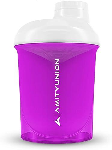 Women's Protein Shaker 400 ml Pink White Deluxe - ORIGINAL AMITYUNION - Sans BPA avec tamis, balance pour shakes crém...
