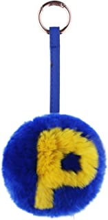 IKEPOD Rex Rabbit Fur Pom Pom Ball Charm Keychain with Letter & Number, Real Bunny Keyring, Soft Cute Doll Pendant - 32 Color