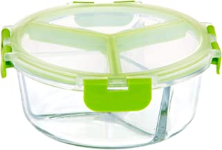 Royalford 950ml Round Glass Meal Prep Container | Reusable, Airtight Food Storage box with 3 Compartments| Microwavable, F...