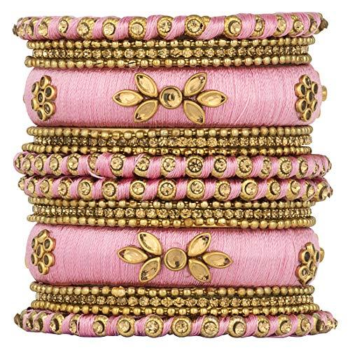 Aheli Royal Design Kunststein besetzt Seidenfaden Armreif Chudha Set Indische Hochzeitskleidung Modeschmuck für Frauen (Pink)
