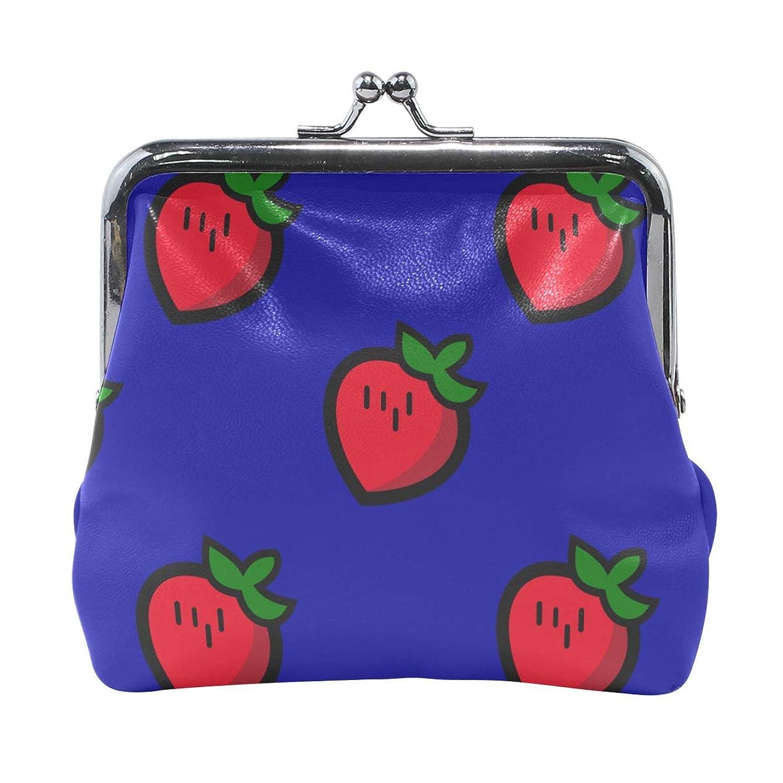 まとめる見せますくびれたがま口 財布 口金 小銭入れ ポーチ いちご 可愛い ANNSIN バッグ かわいい 高級レザー レディース プレゼント ほど良いサイズ