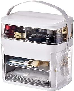 LED Mirror Light Makeup Organizer Box Cosmetic Storage Box Desktop Dust-Proof Dressing Table Organizer Large-Capacity Make...