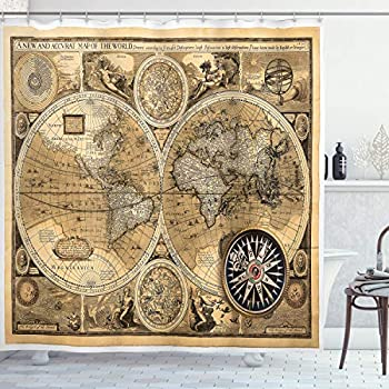 Ambesonne Wanderlust Shower Curtain Old Map 1626 a New and Accvrat Map of World Historical Manuscript Cloth Fabric Bathroom Decor Set with Hooks 70  Long Pale Yelllow